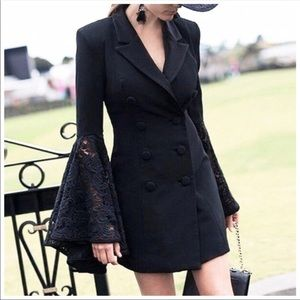Jackets & Blazers - Black Flare Lace Sleeve Dress Jacket